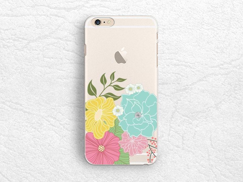 Floral flower Clear transparent phone case for iPhone X, iPhone 8, Note 10, LG G7, LG V30, Samsung S8 Plus, S9 Plus, Google Pixel 2 XL P14