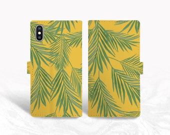 Tropical Leaves PU Leather Wallet Cover Flip Case for iPhone 12, iPhone 13 Pro Max, Samsung S20, S10e, Google Pixel 3, Pixel 5, LG v40 -P142