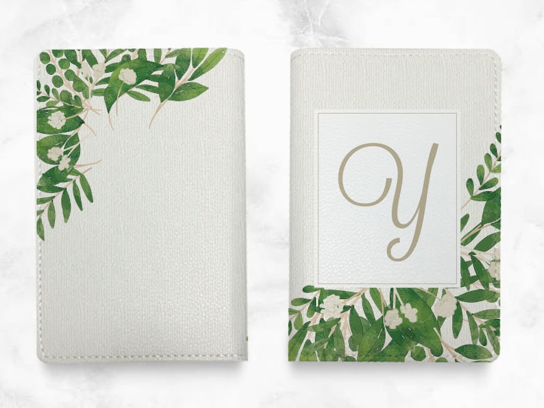 T08 Custom Personalized PU leather Passport Holder travel wallet travel holder travel accessories with FREE name monogram Green Leaves