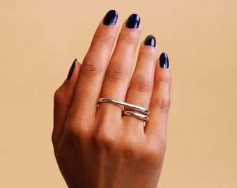 61068d1f1 Two fingers ring, sterling silvet, ring for two fingers, unisex, sculptural  and minimalist
