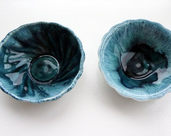 Vintage small teal ceramic bowls
