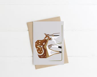 Doe and Fawn Greetings Card