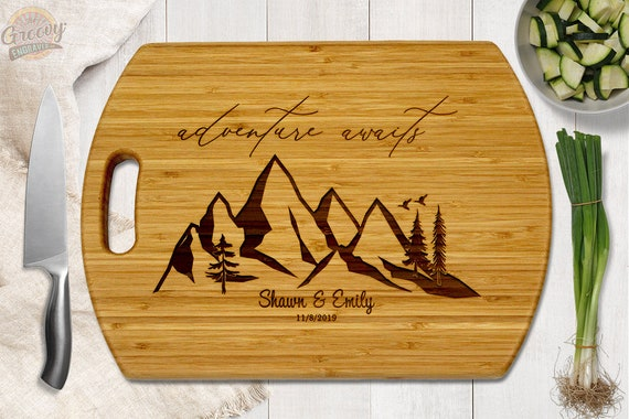 Couples Name Date Custom Engraved Bamboo Cutting Board Wedding Anniversary Bridal Shower Gift  14x10 or 12x9 Caramel or Natural Wood