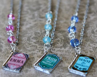 Jane Austen Inspired Book Necklaces, Book Covers, Classic Novels, Bookish Gift, Emma, Pride and Prejudice, Sense and Sensibility, Literature