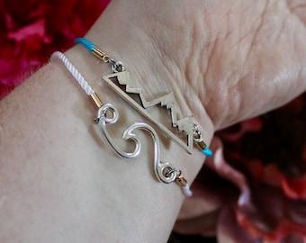 Wave OR Mountain Corded Adjustable Bracelet