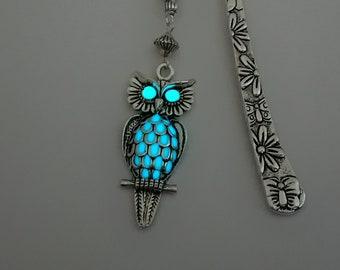 Aqua Glow In The Dark Owl Bookmark