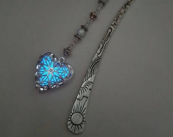 Blue Glow In The Dark Bookmark - Heart Glowing Bookmark - Teacher Gift - Gifts For Her