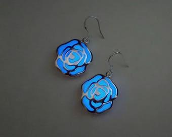 Silver Flower Earrings, Glow in the Dark Earrings, Drop Earrings, Wedding Jewelry, Dangle Earrings, Bridesmaid Earrings, Birthday Gift