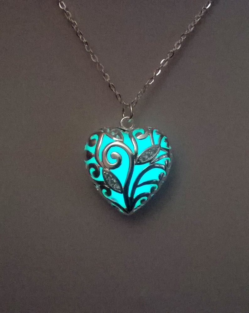 Heart Necklace bridesmaid gifts Glow in the Dark Christmas image 1