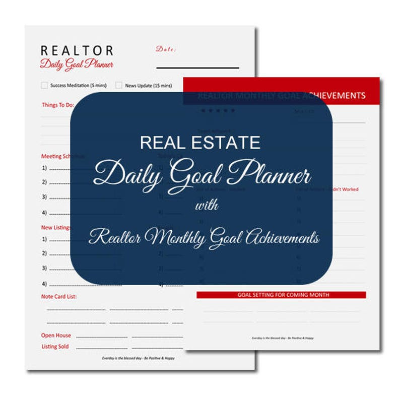 Real estate goal planning, realtor form, real estate forms, real estate  planner, real estate agent, realtor, real estate daily planner