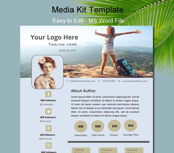 Custom Media Kit Template for Bloggers Blog Custom Press Kit | Etsy