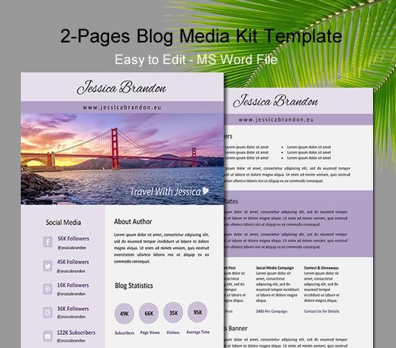 Blogger Media Kit Two Page Media Kit Media Kit Template Press Kit Template Media Kit Professional Media Kit Media Kit Word Media Kit