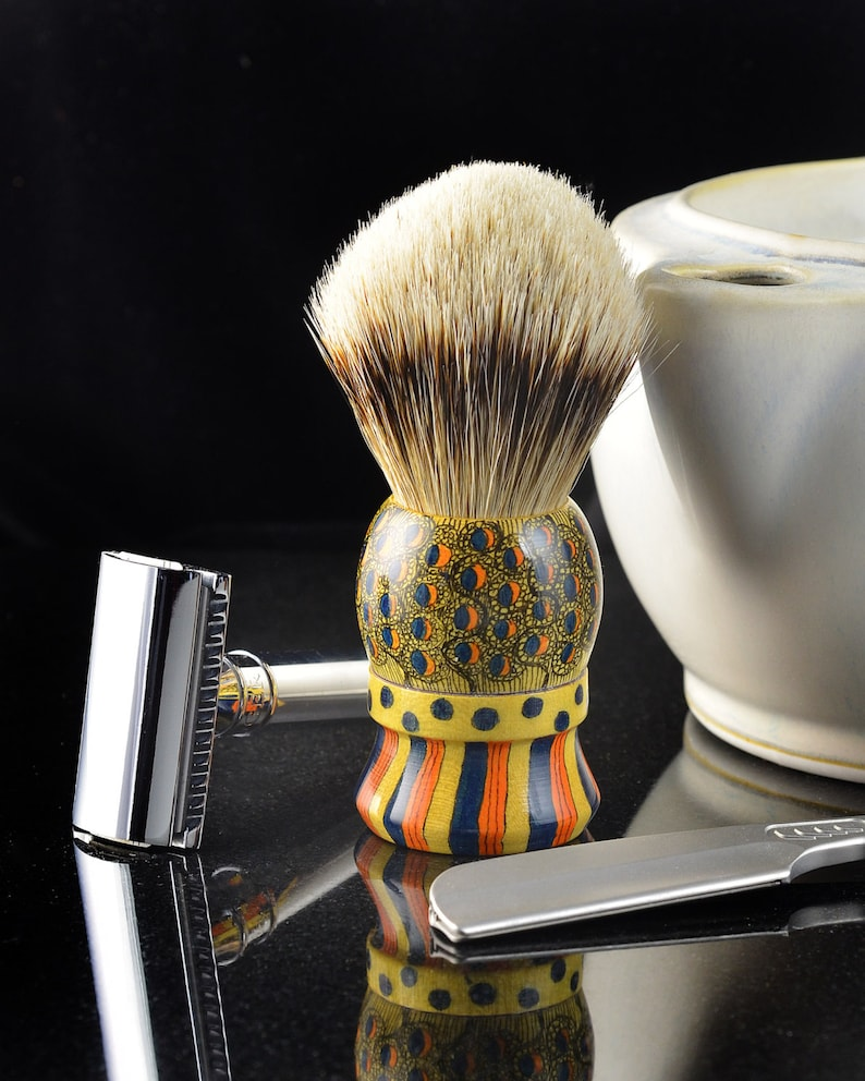 Silvertip Badger shaving brush with custom embellished yellowheart wood  handle
