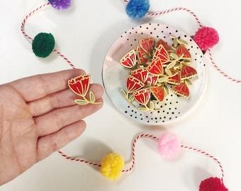 Tulip enamel pin | Daisy enamel pin | The Crybaby Club | Flowers + Feelings | Enamel Pin | Flair