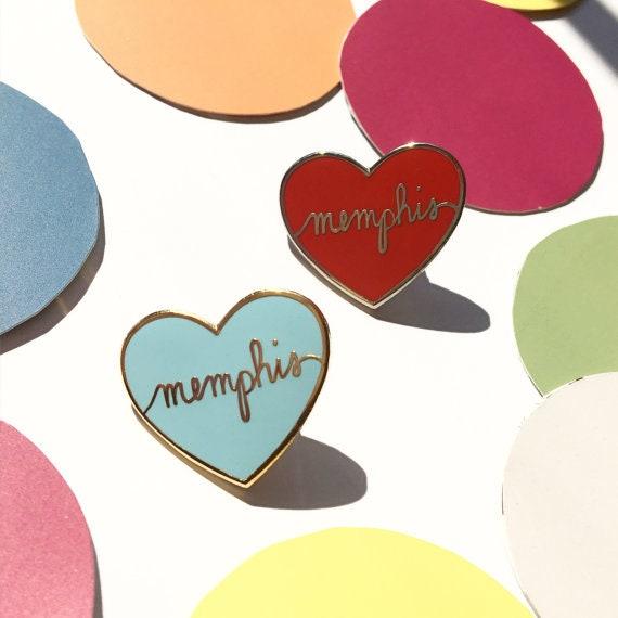 I Love Memphis Enamel Pin | I Heart Memphis Lapel Pin | The Crybaby Club | Memphis | Tennessee | 901