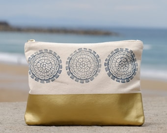 Large zipper pouch, Block print zip pouch, Cosmetic bag, Pencil case, Gift for bride, Boho bag, Navy and gold