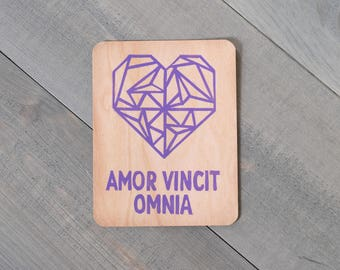 Wooden postcard, Love card, Amor Vincit Omnia, Love Conquers All, Valentines gift, Eco friendly, Gift for boyfriend, Long distance love