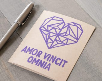 Love card, Amor Vincit Omnia, Love Conquers All, Latin quote,  Block printed love card, Origami heart card, Long distance love