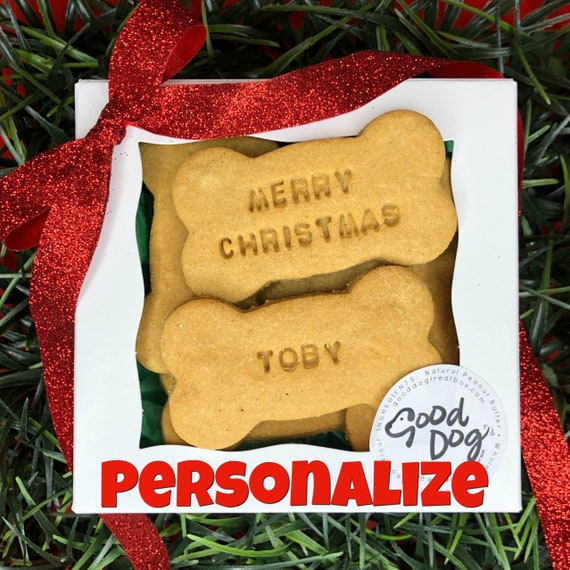 Personalized Merry Christmas Grain Free Peanut Butter Dog Treats