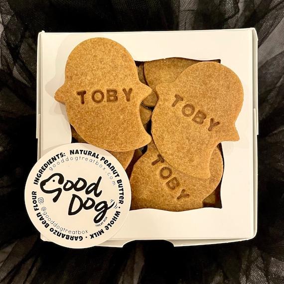 Personalized Halloween Ghost Dog Treats - 1 Dozen - Grain Free Peanut Butter Dog Treats