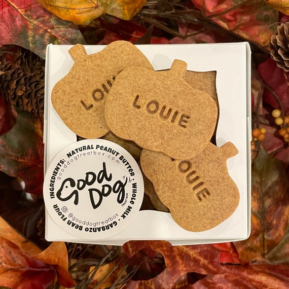 Personalized Pumpkin Shaped Dog Treats - 1 Dozen - Grain Free Peanut Butter Dog Treats