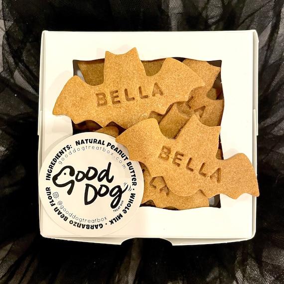 Personalized Halloween Bat Dog Treats - 1 Dozen - Grain Free Peanut Butter Dog Treats