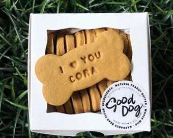 "Personalized ""I Love You"" Grain Free Peanut Butter Dog Treats"