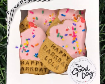Happy Barkday Cupcake Treats / Personalized / Grain Free Peanut Butter Treats / Dog Gift / Dog Cookies / Stamped Dog Treats