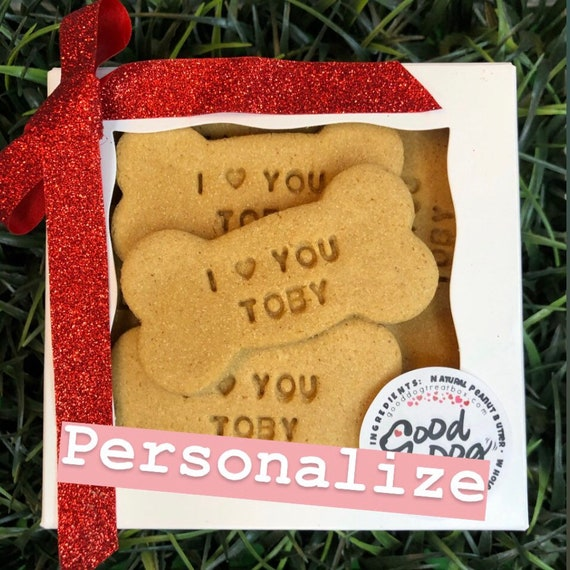 "Personalized ""I Love You"" Grain Free Peanut Butter Dog Treats"