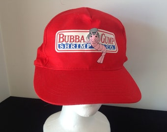 1cf8147e6caf2 Vintage Bubba Gump Shrimp Forrest Gump Red Hat Cap Authentic 1996 NEW 6  Panel Original Custom Printed Unisex Adult One Sized Cosplay Costume