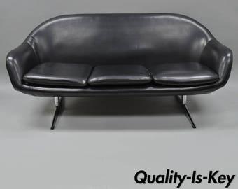 Overman Roto Style Pod Sofa Loveseat Chair Black Vinyl Vintage Mid Century  Modern