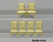 French Provincial Louis XV Style Yellow Hollywood Regency Dining Chairs Set of 6