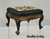 French Louis XV Victorian Mahogany Needlepoint Small Petite Stool Footstool