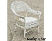 Antique Victorian Wicker Rattan Sunroom Patio Lounge White Arm Chair Furniture