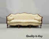 Early 20th C. French Louis XV Provincial Style Sofa with Serpentine Carved Back