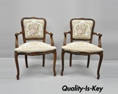 Pair of Vintage French Louis XV Style Floral Tapestry Fabric Chairs Armchairs