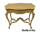French Rococo Louis XV Distress Paint Dressing Table Vanity Ladies Writing Desk