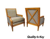 Pair of Baker French Regency Neoclassical Style Bergere Directoire Arm Chairs