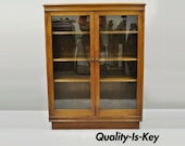 Antique Walnut Two Glass Door Small Adjustable Shelf Bookcase Display Cabinet