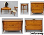 Antique Hand Painted French Adam Style 6 Piece Satinwood Bedroom Set by Irwin