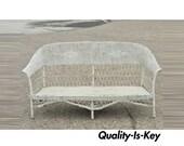 Antique Victorian Wicker Rattan Sunroom Patio Furniture Sofa Couch Furniture
