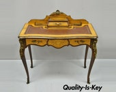 Vintage French Louis XV Style Inlaid Leather Top Petite Ladies Writing Desk