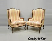 Pair of Vintage French Louis XV Style Wingback Bergere Armchairs, W J Sloane
