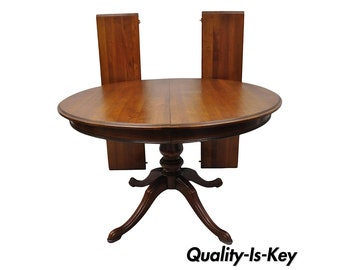 7c269049e5a8 Vintage Thomasville Cherry Wood Round Pedestal Base Dining Table w  Two  Leaves