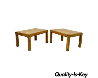 Pair Of Vintage Henredon Artefacts Oak U0026 Brass Campaign Parsons Style End  Tables