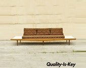 Mid Century Modern Long Gondola Daybed Sofa w Marble Attr. to Adrian Pearsall