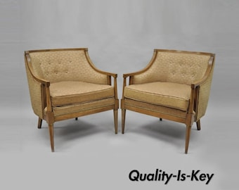 Pair Of Vintage Mid Century Modern Barrel Back Wood Lounge Club Chairs Paul  McCobb Style