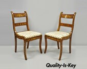 Pair of 19th Century Satinwood Dutch Marquetry Inlay Regency Continental Side Chairs