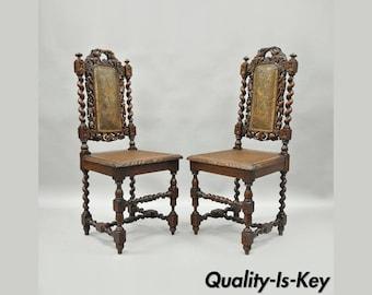 Pair Renaissance Revival Carved Oak Wood Black Forest Barley Twist Cane  Chairs B