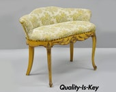French Louis XV Style Yellow Distress Painted Kidney Bean Vanity Chair Bench
